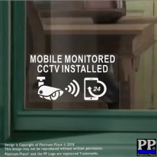 CCTV-Mobile Monitored Installed-24hr Security Phone Warning Camera Sign Stickers